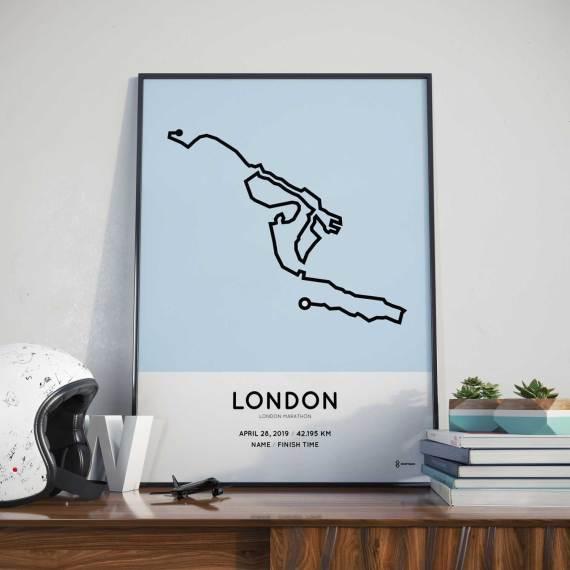 2019 London marathon minimalist course print