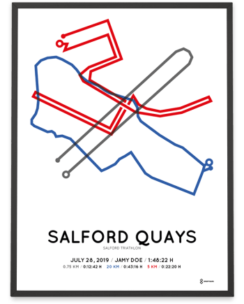 2019 Salford triathlon sprint routemap poster