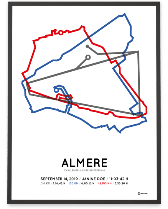 2019 Challenge Almere-Amsterdam Sportymaps route poster