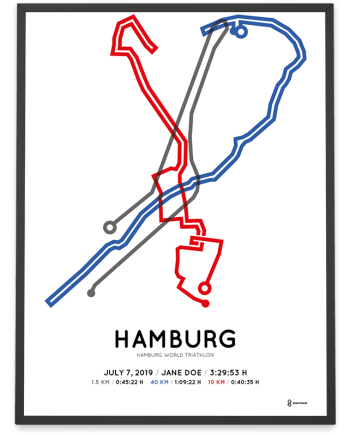 2019 Hamburg World Triathlon strecke print