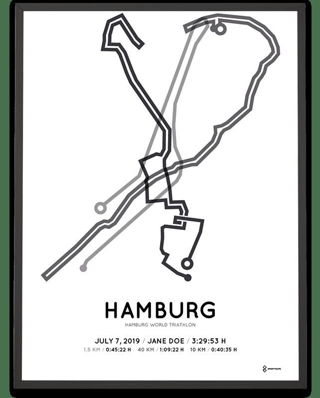 2019 Hamburg World Triathlon coursemap poster