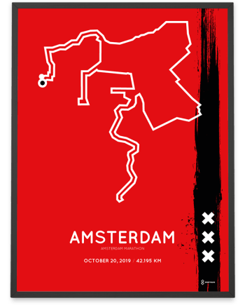 2019 Amsterdam marathon special edition route poster