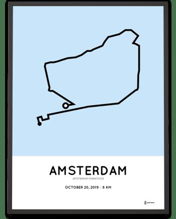 2019 Amsterdam marathon 8km parcours print