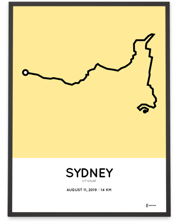 2019 City2Surf Sydney course poster