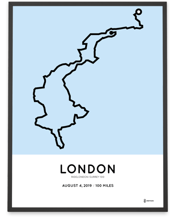 2019 Ride London 100 course poster