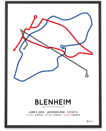 2018 Blenheim Palace triathlon routemap poster