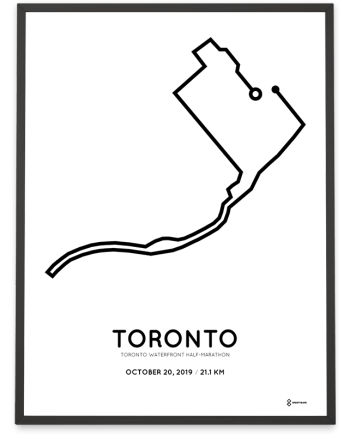 2019 Toronto waterfront half-marathon course sportymaps poster