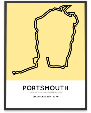 2019 Portsmouth coastal waterside 50k ultra course poster