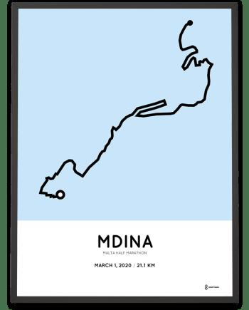 2020 Malta half marathon course poster