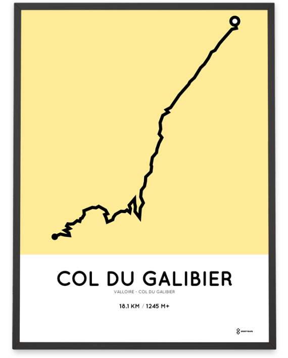 Col du Galibier parcours from Valloire poster