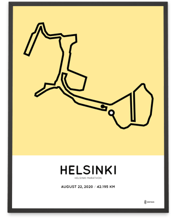 2020 Helsinki marathon course poster