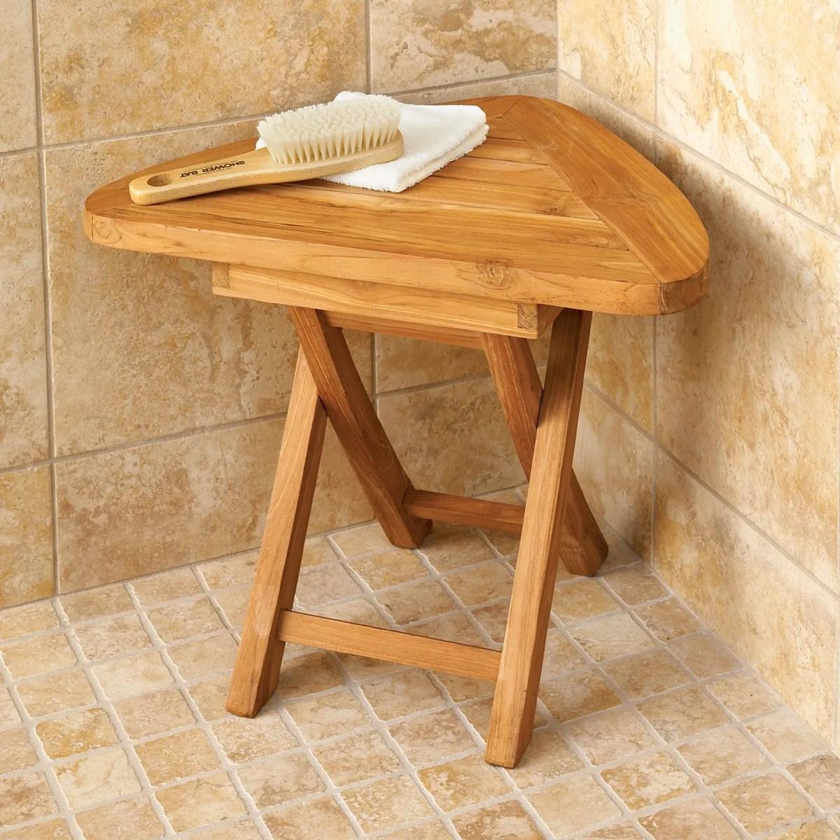 Teak Corner Bath Stool  from Sportys Preferred Living