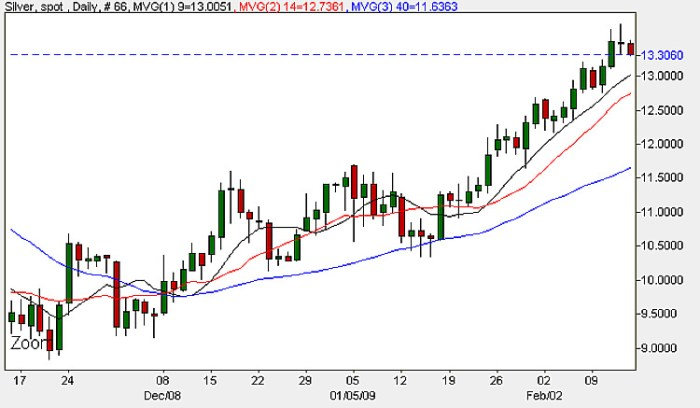 Spot Silver Prices - Daily Candle Chart 13th February 2009