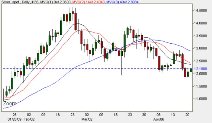 Silver Chart - Spot Silver Price Daily 21st April 2009