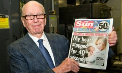 Rupert Murdoch with the first issue of the Sun on Sunday