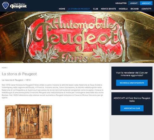 PORTALE WEB Club Storico Peugeot Italia (2)