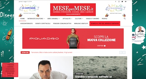 L'home page del quotidiano online Mesepermese.it
