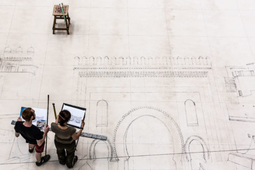 Preparazione scenografie opera Ali Babà presso le officine ex-Ansaldo