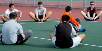 The Bethlehem boys tennis team warms up for practice Wednesday, March 16. Rob Jonas/Spotlight