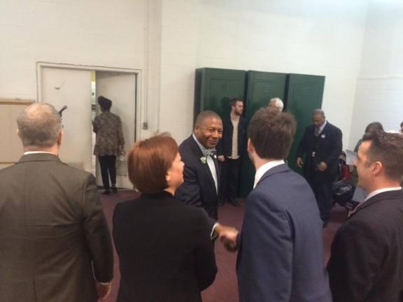 New York State Senator James Sanders Jr. arrives at the Washington Avenue Armory for the Bernie Sanders rally. Ali Hibbs/Spotlight