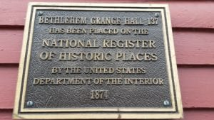 A plaque from the National Historical Registry is mounted in front of Bethlehem Grange No. 137. It was added as a historical landmark in 2002. - Photo By Michael Hallisey / Spotlight