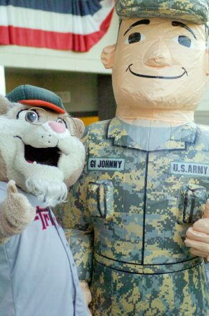 """Pappy Paw,"" one of the Tri-City ValleyCats mascots, meets up with Army mascot ""GI Johnny."" Rob Jonas/Spotlight"