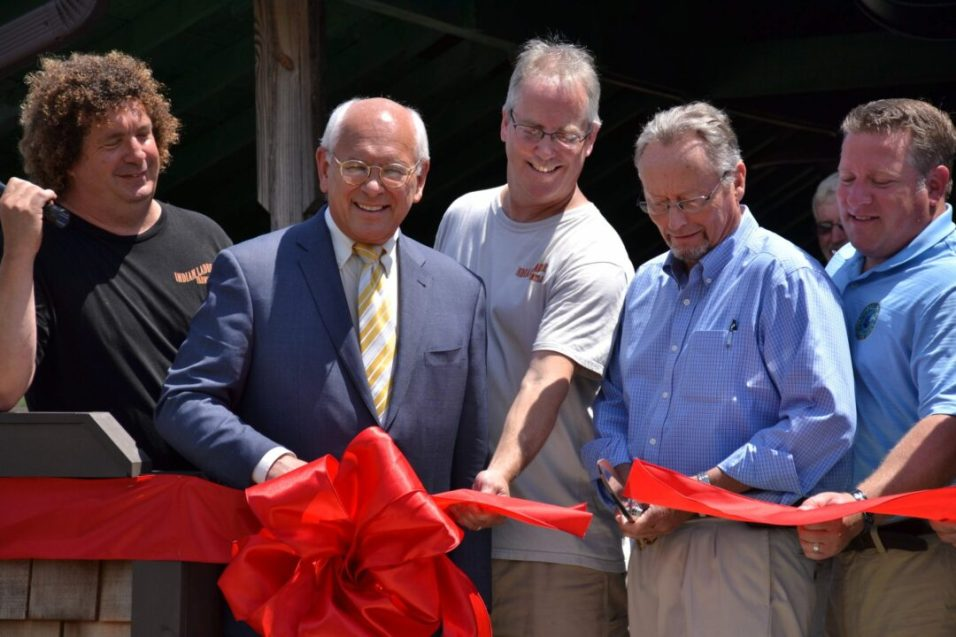 Indian Ladder Farmstead Cidery and Brewery Ribbon Cutting (left to right: Dieter Gehring, co-owner; Paul Tonko, Stuart Morris, co-owner; Richard Bell, Commissioner of Agriculture; and Albany County Executive Dan McCoy)