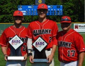Stan Musial World Series Co-MVPs Chris Salamdia, left, and Cameron Overbaugh, center, with manager Joe Altieri. Submitted photo