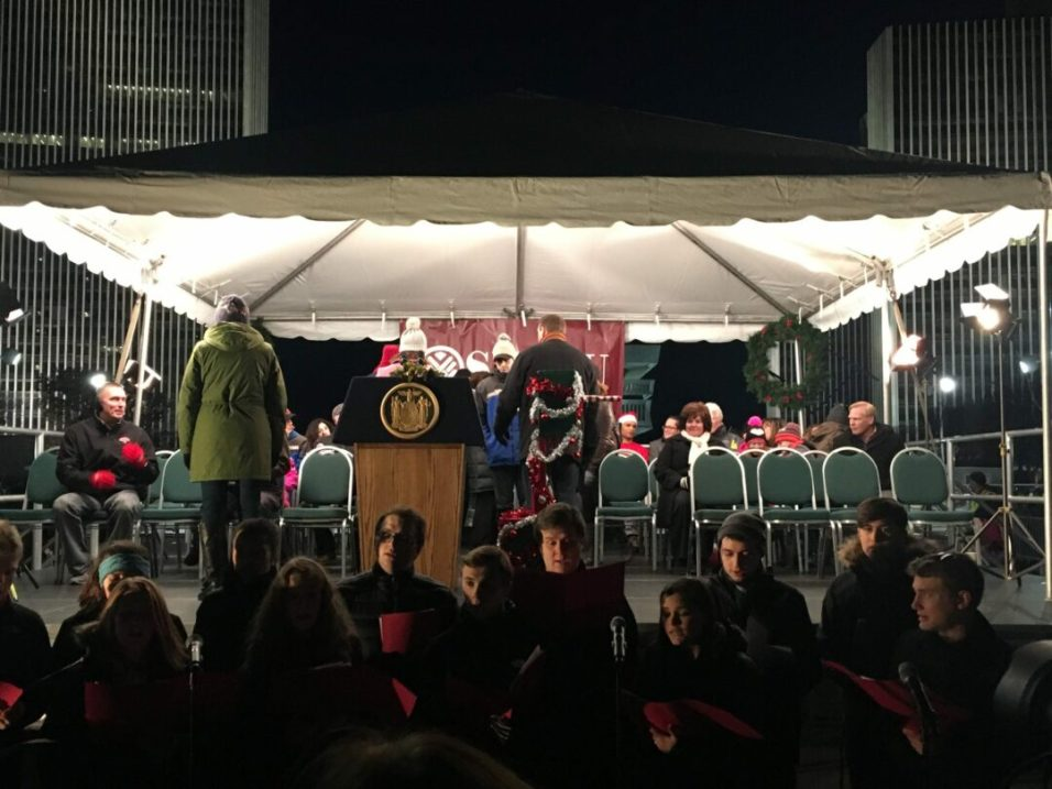 State officials gathered on stage prior to the tree lighting. Kassie Parisi/Spotlight News
