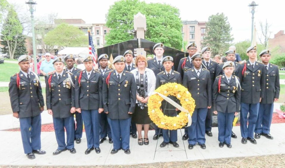 Charlene Robbins with Albany High School ROTC. Her son Thomas Robbins killed in Iraq on Feb. 9, 2004.