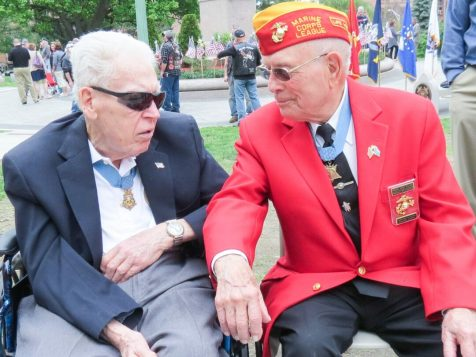"""Francis S. Currey of Selkirk and Hershel """"Woody"""" Williams of Louisville, Kentucky both Congressional Medal of Honor recipients."""