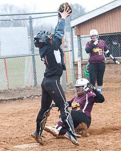 Here is a shot of the questionable call in the bottom of the seventh to tie the game without the watermark. The ump called the Colonie runner safe.