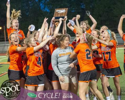 The Bethlehem girls lacrosse team celebrates after beating Shenendehowa for the Section II, Class A championship at Mohonasen High School on Wednesday, May 22 2019 (Jim Franco/Special to the Times Union)