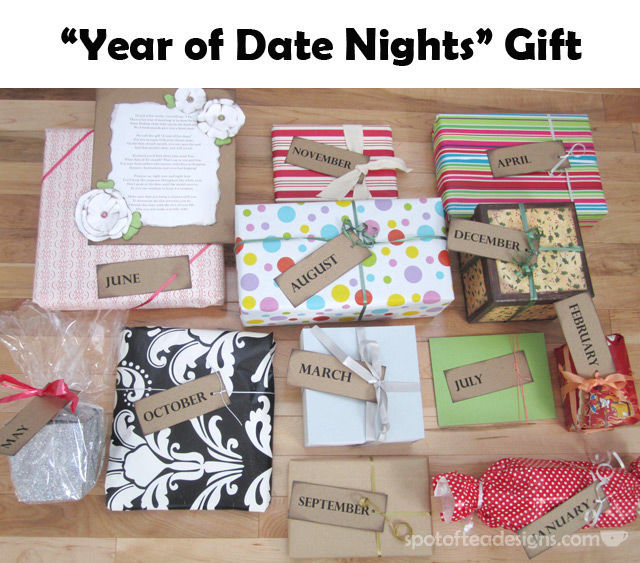 Year of Date Nights Gift = 12 gifts opened all year round! Great alternative for Bridesmaid gift to Bride #wedding   spotofteadesigns.com