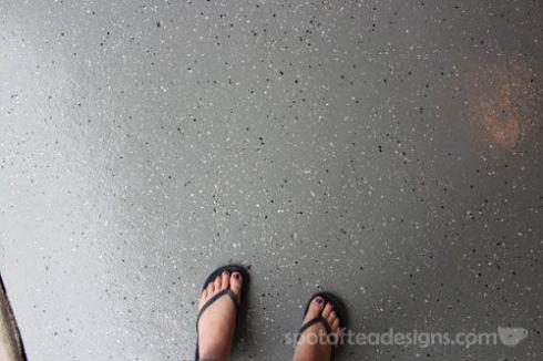 Garage Makeover: Paint Flecked Floor   spotofteadesigns.com