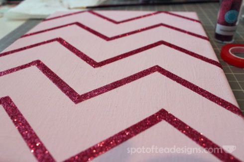 Nursery Canvas Art Chevron Glitter - spotofteadesigns.com