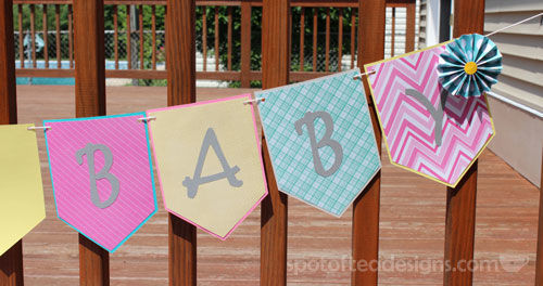 Colorful Baby Shower Garland | spotofteadesigns.com