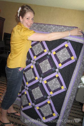 Handmade Purple and Grey Wedding Quilt | spotofteadesigns.com