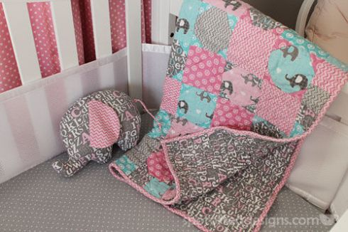 Handmade Baby Quilt and Elephant Stuffed Animal | spotofteadesigns.com