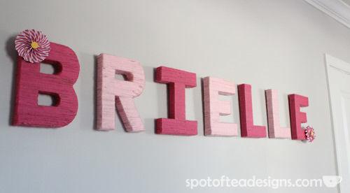 Baby Girl Nursery: Yarn Wrapped Letters | spotofteadesigns.com