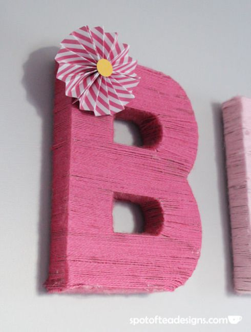 Baby GIrl Nursery Yarn Wrapped Letters | spotofteadesigns.com