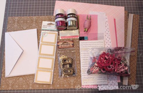 All that glitters is gold challenge: pink and gold scrapbooking supplies | spotofteadesigns.com