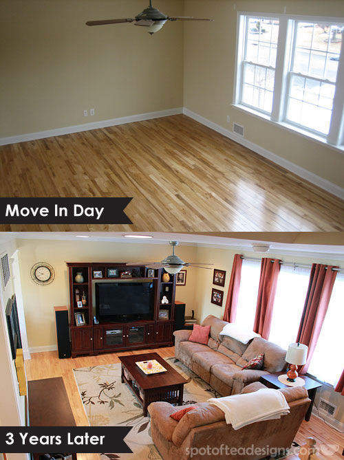 Living Room 3 Years later | spotofteadesigns.com