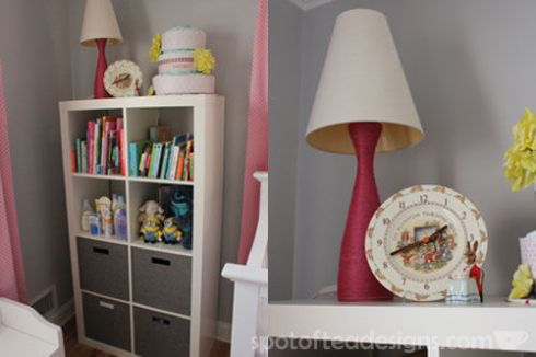 Pink, Gray and White Modern Baby Girl Nursery: Bookshelf and DIY Lamp| spotofteadesigns.com