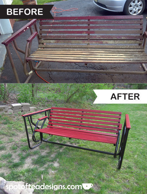 Backyard Bench Makeover | spotofteadesigns.com