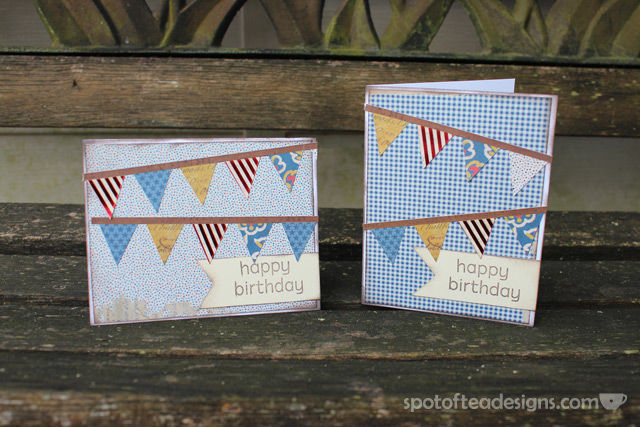 Handmade birthday cards using adhesive border stickers | spotofteadesigns.com