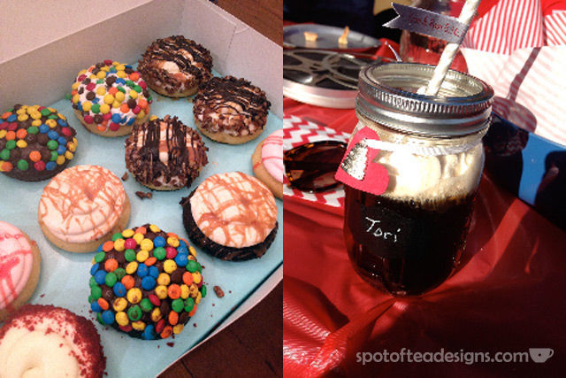 "Movie Night Engagement Party Cupcakes and ""adult"" rootbeer floats 