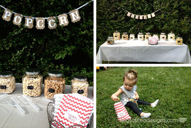 Movie Night Engagement Party Popcorn Bar | spotofteadesigns.com
