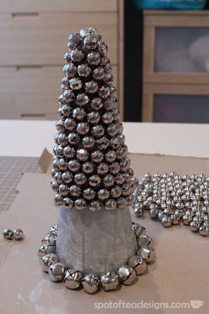 DIY jingle bell cone tutorial | spotofteadesigns.com