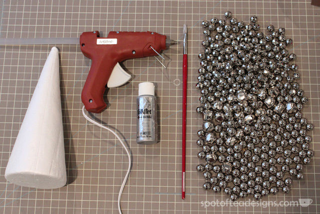 DIY jingle bell cone tutorial | spotofteadesigns.com